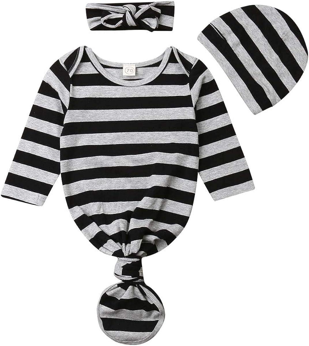 Newborn Unisex Baby Cotton Sleepwear Striped Headban Nightgown Long Beach Max 41% OFF Mall