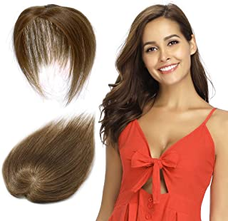 100% Remy Human Hair Silk Base Top Hairpieces Replacement Clip in Topper For Women Crown Top Piece Short 12''/12inch #6 Light Brown 20g