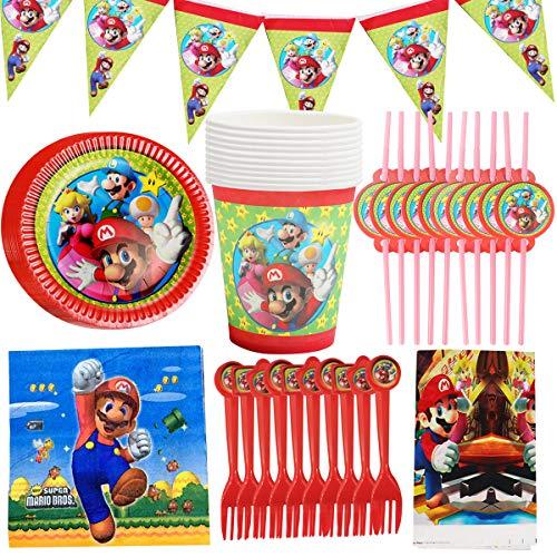 WENTS Gebutstag Party Set 62-teiliges Party-Set Super Mario Teller Becher Servietten Geburtstag Dekoration Set Happy Birthday Deko Bunte Partykette Girlande Banner