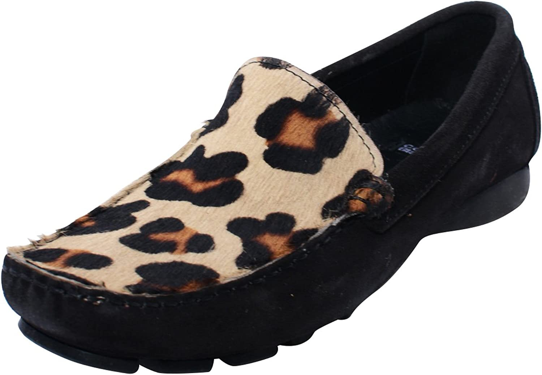 Costawhitea Women's Animal Robbin Suede Loafer Flats Black Beige 8