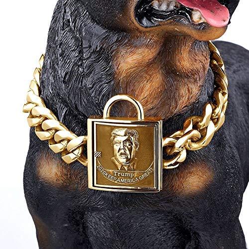 Modow 19mm Großes Haustier Hund Schwarz Edelstahl Kette Halsband Pitbull Dobermann,Golden,14in