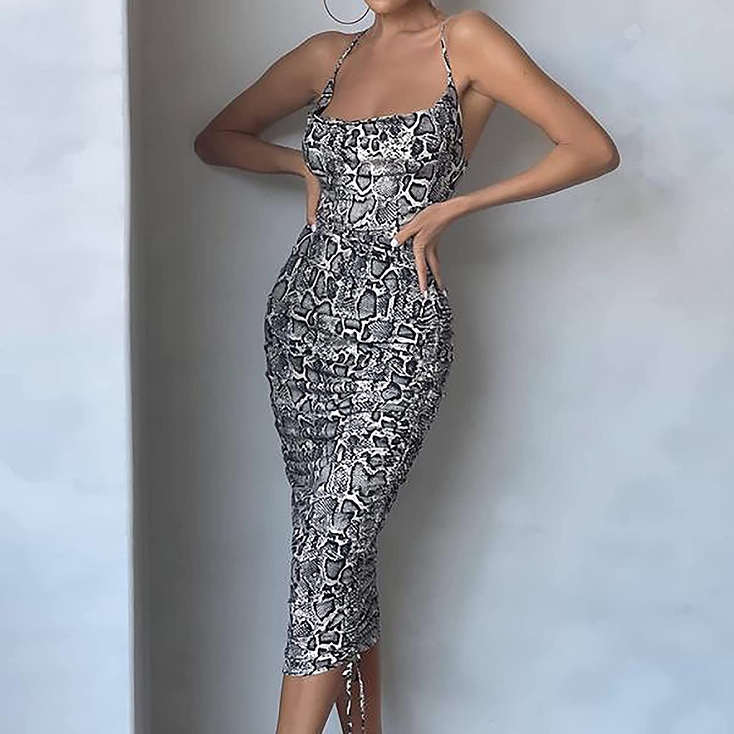 5665 Women's Summer Fashion Sexy Snake Print Asymmetrical Backless Camisole Pleated Dress Sleeveless Tight-Fitting Dress