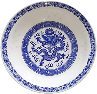 LeBlue 8 inches Blue and White Porcelain Fire Dragon Asian Chinese Pasta Salad Bowl Dinner Plate, Set of 2
