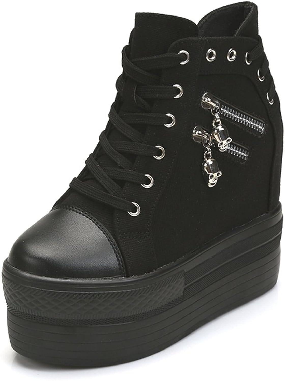 CYBLING Womens Increase Height Platform Sneaker Zipper High Top Hidden Heel Fashion shoes