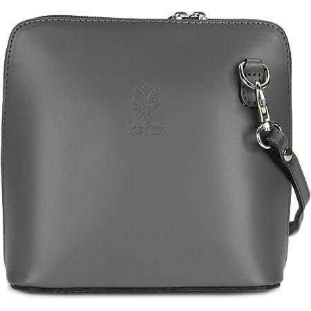 Belli ital. Ledertasche Damen Umhängetasche Handtasche Schultertasche - 17x16,5x8,5 cm (B x H x T) (Grau)