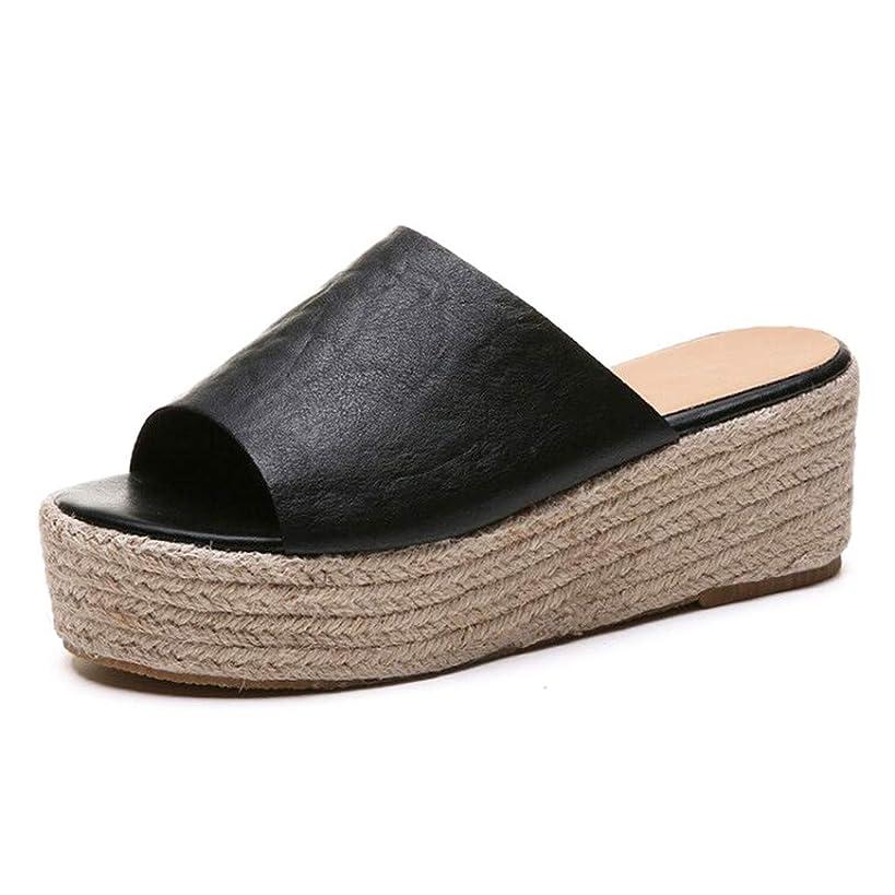 ?QueenBB? Women's Espadrille Platform Wedge Heel Peep Toe Pu Sandals Summer Fashion Slippers Dress Shoes
