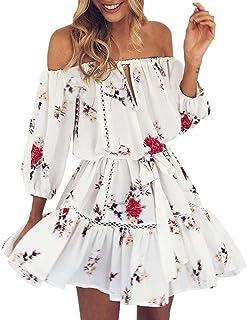Vestiti,Gonne,Abito,Yanhoo® Mini abito corto da donna con scollo a V, vestito estivo con stampa floreale (S, bianco)