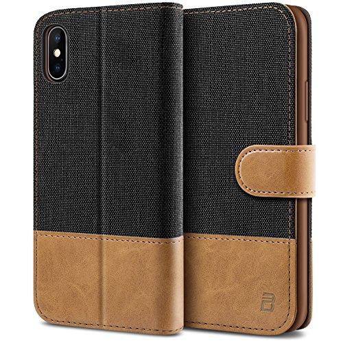 BEZ Handyhülle für iPhone X Hülle, Tasche Kompatibel für iPhone X, iPhone XS Handytasche Schutzhülle [Stoff und PU Leder] mit Kreditkartenhaltern, Schwarz