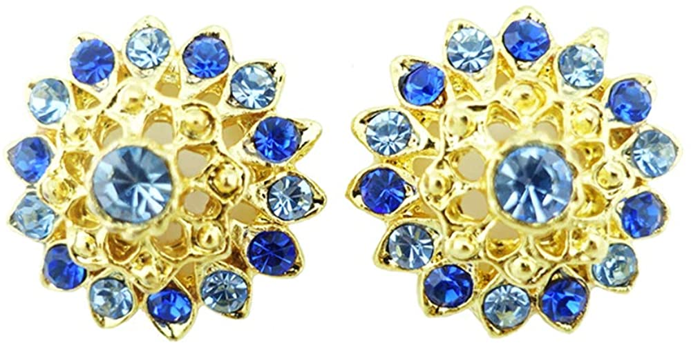 Siwalai Thai Traditional Gold Plated Turquoise Crystals Clip On Earrings 0.75 Inches