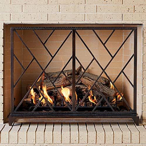 Especialidades de diseño Guardia plana de la pantalla de la chimenea de un solo panel, independiente antiguo rojo cobre hecho a mano hierro forjado decoración de fuego de bomberos para gas / de madera