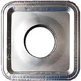 Top Grade Aluminum Foil Square Stove Burner Covers - Universal Size Disposable Bib Liners for Gas Burner (Pack of 16)
