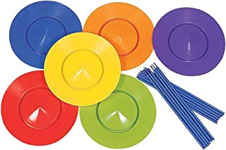 Fityle 6x Plastic Spinning Plates Stick Set Magic Circus Trick Juggling Classic Toy