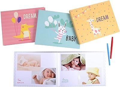 Exacompta - Réf. 11232E - 1 Album photos livre 30 pages blanches - Format 28,5x22cm - couverture papier imprimé BABY Jaune - pelliculage mat - 60 photos