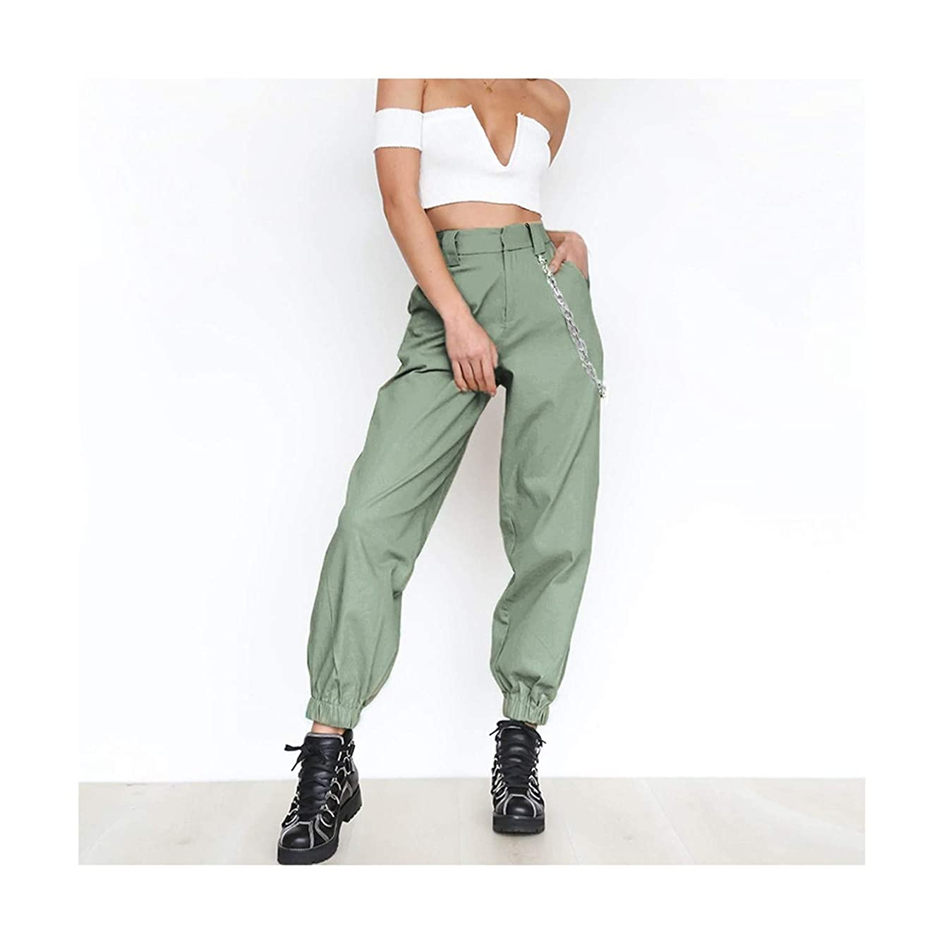 Cargo Elasticated Trousers Women Link Chain Street Wear Trousers Loose Women Moto Joggers High Waist Pants Sweatpants