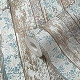TRENDWALLS Carta da parati in legno blu marrone grigio effetto legno carta da parati con pannelli in legno opaco leggermente strutturato