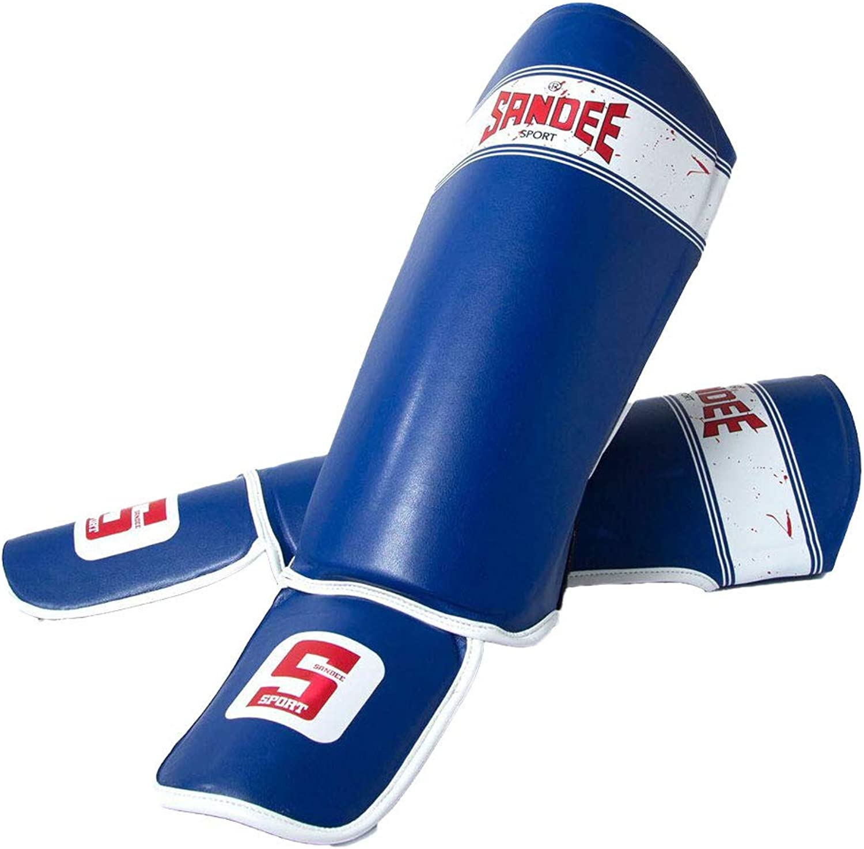 Sandee Sport Adults Muay Thai Shin Pads blueee  Pair