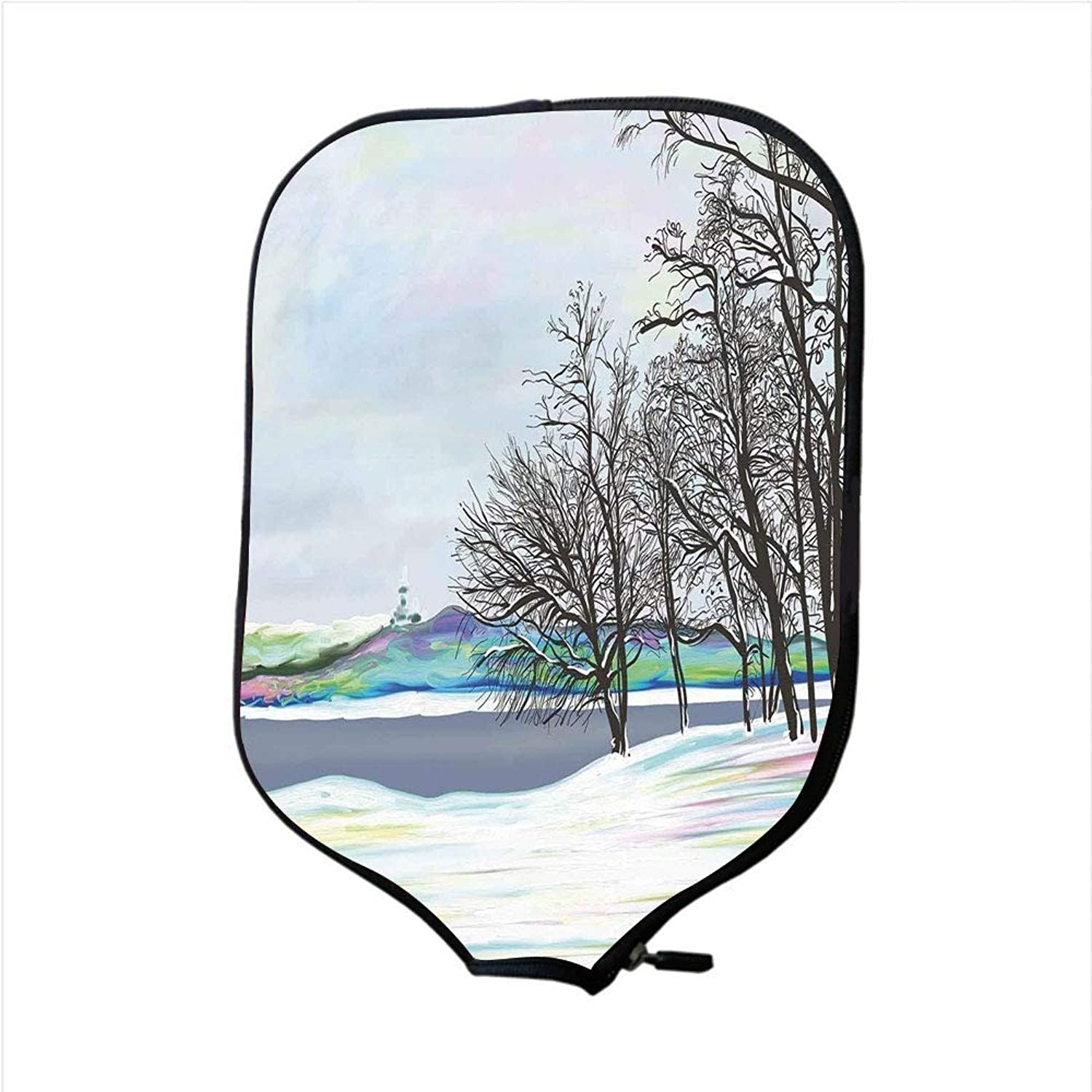 Fine Neoprene Pickleball Paddle Racket Cover Case,Nature,Rural Winter Forest with Leafless Tree Branches Digital Vibrant Effects Artwork,Multicolor,Fit for Most Rackets