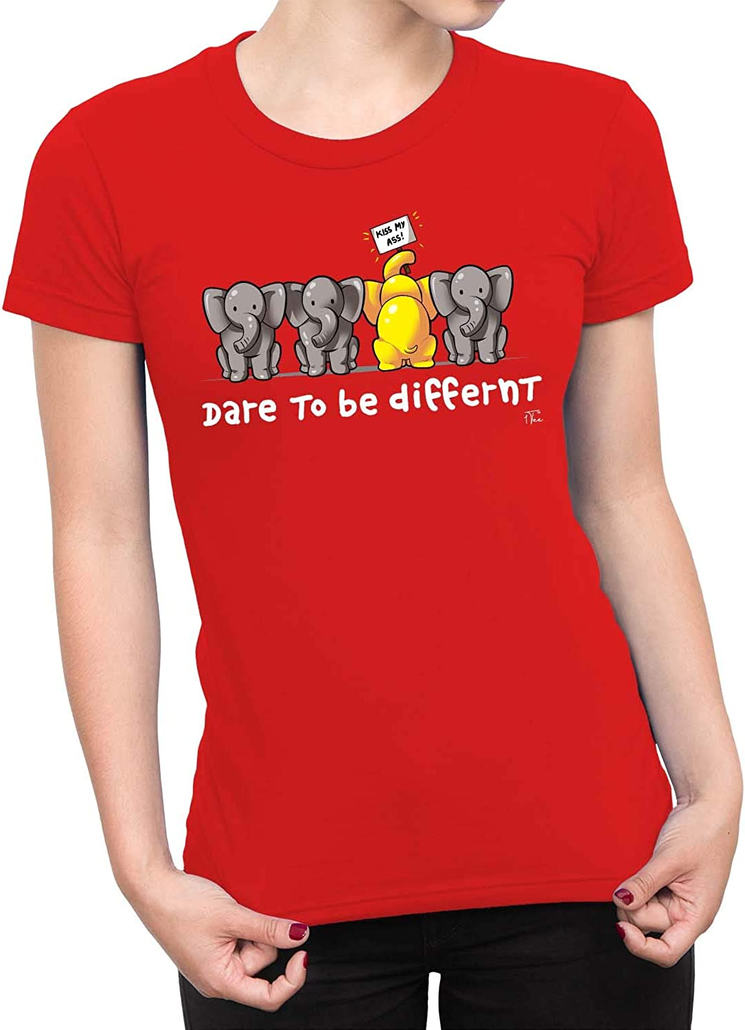 1Tee Womens Kiss My Ass Dare To Be Different Elephant T-Shirt
