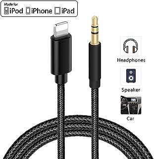 Cavo AUX per iPhone adattatore audio maschio da 3,5 mm per autoradio stereo e cuffie 3.3ft Cavo Aux compatibile con iPhone11 // 8//7//6 // X//Xs//Xr//iPad//iPod compatibile con tutti i sistemi iOS