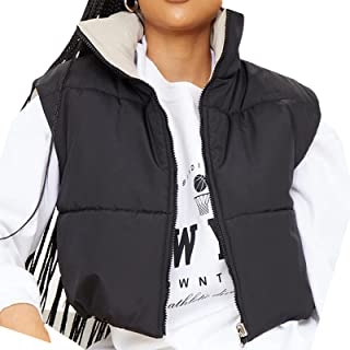 SHIBAOZI Women Girls Cropped Puffer Vest Jackets Casual Zip-up Sleeveless Winter Warm Down Coat
