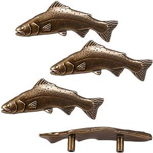 SCRTB 4Pcs Fish knobs for Door Cabinet Closet Drawer Cupboard Dresser Wardrobe Furniture Kitchen Handle for Home Office Kitchen Pull