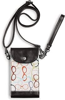 Glasses Patterned Women's Cotton Canvas & Vegan Leatherette Crossbody Wristlet Cellphone Tote