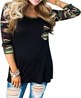 Women's Casual 3/4 Sleeve Camouflage Printed Pocket Patchwork T-Shirt