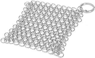 ORETG45 Limpiador de hierro fundido con raspadores de parrilla de plástico duradero, de acero inoxidable para sartenes, parrillas, sartenes o woks y más, No nulo, Plateado, 10 x 10 cm