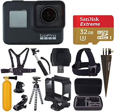 $389 Get GoPro HERO7 Black Digital Action Camera with 4K HD Video 12MP Photos, SanDisk 32GB Micro SD Card, Hard Case - Gopro Hero 7 Accessory Bundle