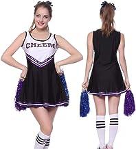 Costume de Cheerleader avec Pompons Uniforme de Pom-pom Girl pour Femmes D/éguisement Femme Comp/étition Sportive Encourage V/êtements Cheerleaders Costumes de Performance Robe de Pom-pom Girl Sexy