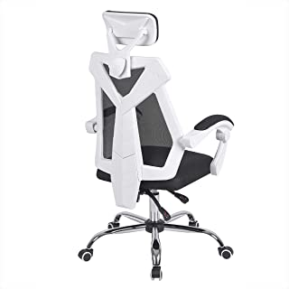 AuAg Gaming Chair Racing Office Chair High Back Computer Desk Chair PU Leather Gaming Chair Ergonomic Adjustable Swivel Gaming Chair-White