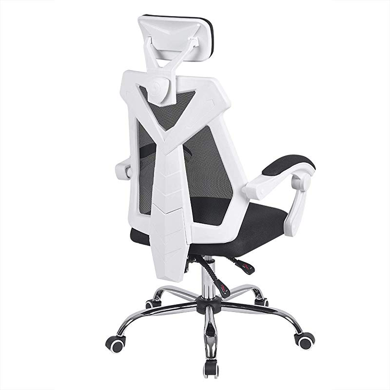 AuAg Gaming Chair Racing Office Chair High Back Computer Desk Chair PU Leather Gaming Chair Ergonomic Adjustable Swivel Gaming Chair White