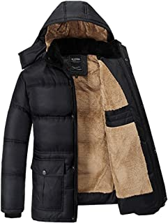Fashciaga Men's Hooded Faux Fur Lined Quilted Winter Coats Jacket