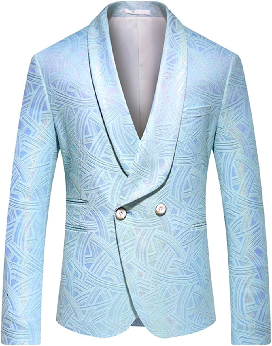 Mens Slim Fit Casual Blazer Jackets Floral 2 Buttons Stylish Dress Suits Tuxedo