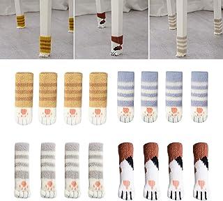 HvxMot Calcetines para Sillas, Calcetines de Silla, Calcetines para Muebles, Antideslizante, Antirruido, Protege el Suelo de Arañazos, para Circunferencia de 10cm a 18cm (4 Estilos, 16 en Total)
