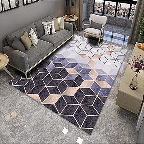 Alfombra Grande Alfombra púrpura, patrón Cuadrado 3D decoración de la casa a Prueba de Polvo Alfombra Anti-ácaro alfombras habitacion Infantil -Púrpura_80x160cm