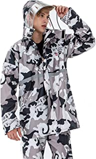 Camouflage Poncho + Rain Pants, Women and Men Reflective Tape Split Raincoat Suit Waterproof Windproof Rainwear for School Work Motorcycle Bicycle,Khaki,XXL