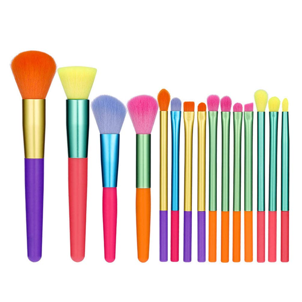 Lurrose 15Pcs Makeup Ranking Large-scale sale TOP19 Brushes Set Shadow Colorful Eye Fac