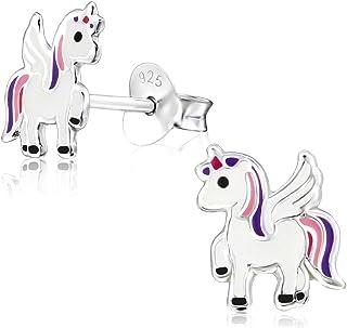 Laimons Kids - Clous d'oreilles licorne en argent sterling 925 pour fille, bijoux pour enfants, couleur : blanc/rose/violet