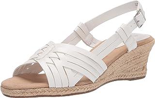 Easy Street Women's Wedge Sandal, White, 9.5