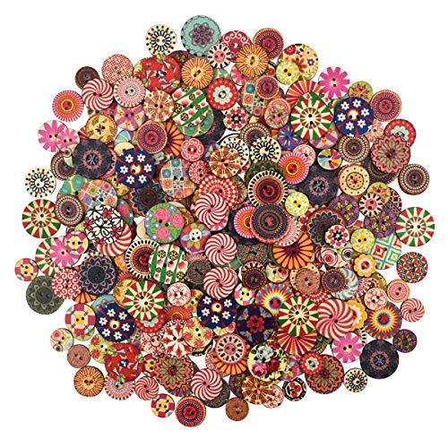 300 Stück Bunte Knöpfe, Retro Harz Bastelknöpfe Gemischte Multicolor Rund Kinderknöpfe Puppenknöpfe mit 2 Löcher zum Basteln, Nähen, Handwerk, Malerei, DIY Basteln, Deko - 15, 20, 25mm