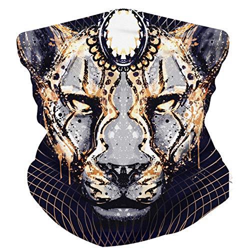 ELECTRIC LION Face Mask Bandanas - Multi-Use Face Cover - with Fine Hemmed Edges - Animal Collection (JAGUAR vaporz)