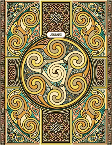 Wheel of Celtia Journal: antique color theme, 148 page 8.5x11' lined journal with Celtic details, inspirational quotes, and Celtic coloring