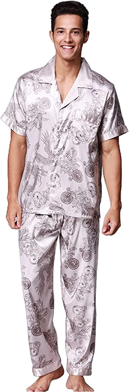 Men's Max 57% OFF Dragon Printed In stock Sleepwears Button Pajamas Down Set Lo Satin