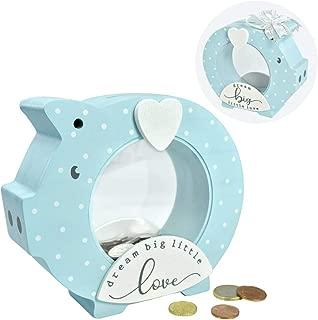 "I'm Solid Wood Piggy Bank Coin Bank Savings Money Bank, Adorable Gifts for Baby Birthday Boys Girls Kids Child to Cherish Baby Shower, Keepsakes & Nursery Décor ""Dream Big Little Love"" (Dot Blue)"
