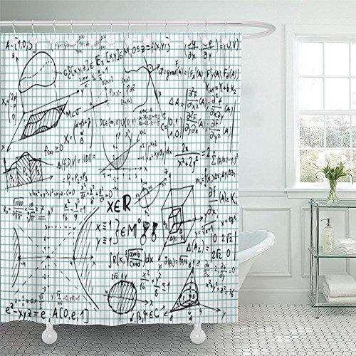 Emvency Duschvorhang, wasserfest, blaues Einstein-Quadratisch, mathematische Gleichungen und Skizzen, Weiß, Polyester, verstellbare Haken, Satin, grau, 72x78