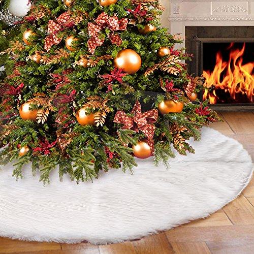 You's Auto Weihnachtsbaum Rock,122cm Weihnachtsbaumdecke Weiß Plüsch Weihnachtsdeko Runde christbaumständer Teppich Weiß-Schnee-WeihnachtsthemaVerzierung (122CM)