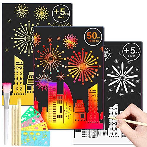DCLYSI Scratch Art Set60 Pcs Scratch Paper Art Kit & 8 Wooden Styluses for Kids Create Rainbow Scratch Art,Perfect for DIY Kids Art Craft