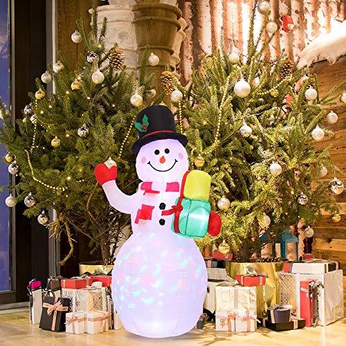 HITECHLIFE Pupazzo di Neve Gonfiabile di Natale con Luce a LED Bianca, Pupazzo di Neve di Natale soffiato ad Aria da 1,5 m con Borsa Regalo, Decorazioni Illuminate per Feste Allaperto per Giardino