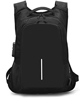 Anti Theft Student Outdoor Travel Backpack Water Resistant Laptop Backpack Daypack Bag Travel Bag Shoulder Bag Purse with Custom Coded Lock and USB Charging Port (Black)